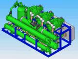 Unidad de condensación del compresor de rosca paralelo con el condensador refrigerado por agua y el refrigerador de petróleo refrigerado por agua