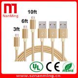 Neues Goldumsponnenes Mikronylonkabel für iPhone 5/6, Daten-Kabel für iPhone USB-Ladung-Übertragungs-Kabel