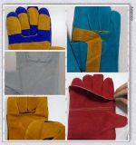 青い牛黄色い補強されたDlw627の分割された溶接工の手袋