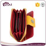 Raccoglitore lungo della chiusura lampo di colore rosso, borsa di cuoio dell'unità di elaborazione per le signore