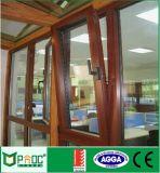 Ventana de cristal de aluminio del grano de madera para la inclinación y la vuelta Pnoc0008ttw