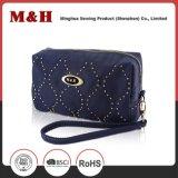 Pequeño bolso azul del cosmético del bolso de la promoción del bolso de las señoras de la PU del Portable