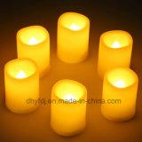 Изготовленный на заказ дешевая миниая пластмасса освещает вверх свечку, свет свечки батареи СИД, белый свет чая пламени СИД