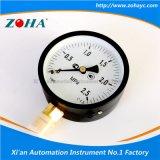 Tipo económico calibradores de 4 pulgadas de presión generales de acero del negro con el conector de cobre amarillo