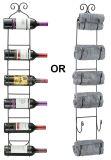 El estante de toalla del estante del vino del metal del montaje de la pared sostiene 6 botellas