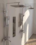 Miscelatore termostatico fissato al muro dell'acquazzone con la piattaforma