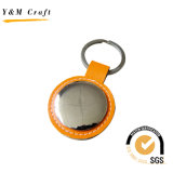 High Quality Blank Metal PU Leather Key Ring with Logo