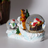 Regalo de Navidad del polyresin doble globo de la nieve para la decoración del hogar