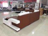 Sofá de canto de couro genuíno e em forma de U para sala de estar