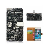 iPhone 7을%s 인쇄된 전화 지갑 가죽 손가락으로 튀김 상자