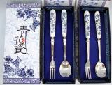 Cutlery ручки нержавеющей стали керамический установил с ложкой и палочка