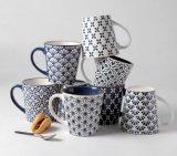 Taza de cerámica de cerámica al por mayor de 12 oz con diseño grabado en relieve