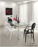 Piedino di vetro del metallo della Tabella della sala da pranzo del ristorante della famiglia semplice classica (NK-DT269-1)