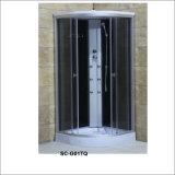 Cabina de la ducha del rectángulo con el estante con la ducha superior y seis jets/boquillas