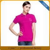 Chemises 100% de polo roses de coton fait sur commande de dames