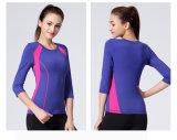 Camicia Two-Tone di yoga di Sportwear dello Spandex del nylon 8% di forma fisica 92% della donna