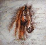 Pista de caballo en pintura al óleo