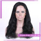 парик шнурка естественных черных бразильских волос ранга 10A полный
