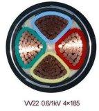 Câble d'alimentation engainé par PVC isolé par PVC de cuivre du conducteur 5-Core Sta