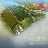 景色の庭はAreialの眺めの高リゾリューションのレンダリングを計画する