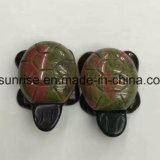 Gemstone de cristal natural tartaruga de duas camadas que cinzela a escultura
