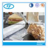 Материальный ясный пластичный плоский мешок еды на крене