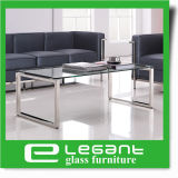 Table de verre trempé simple et simple sur tube en acier inoxydable