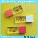 Movimentação plástica do USB do cristal do tampão com logotipo da cor cheia (ZYF1510)