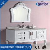 Moderner Entwurfs-Fußboden-stehende weiße hölzerne Badezimmer-Wannen-Eitelkeit
