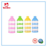 Varias capas de contenedores de leche en polvo para bebés