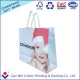 Sac à provisions blanc fait sur commande de papier d'emballage avec le sac de cadeau d'impression de logo
