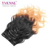 Grampo de cabelo humano peruano de Ombre em extensões do cabelo
