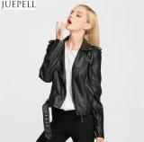 Mujeres de cuero de la PU del americano de la PU de la chaqueta de cuero del cortocircuito del párrafo de la chaqueta europea de la motocicleta