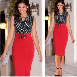 Vestido de la oficina del lápiz de MIDI del vestido de la Rodilla-Longitud de las mujeres (vestido 116)