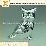 Estatuilla de cerámica del buho de los pares Electroplated de la decoración