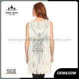 Fashion Fringe Metallic Crochet der Dame Weste-Mantel