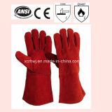 14 '' volle gezeichnete Rindleder Spliet Schweiß-Lederhandschuhe und Funktions-Handschuhe, Kevlar-nähende Schweiß-Lederhandschuhe, verstärkte Daumen-lederne Handschuhe für Schweißer-Gebrauch