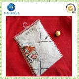 Ropa del PVC y la bolsa de plástico de la ropa interior, bolso cosmético del embalaje del PVC con un gancho de leva/una percha y botón (JP-plastic004)
