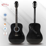 """[Winzz] 41 do """" ABS pretos de Finerboard do bordo da parte superior da madeira compensada Linden que ligam a guitarra acústica (AF229H)"""