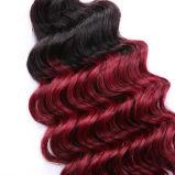 """24 """" cheveux 1B de la guerre biologique 3bundles Ombre de prolonge de cheveux humains/# rouge foncé"""