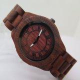 Vigilanza del legno del quarzo dell'ebano del legno di sandalo rosso della zebra dell'OEM Hl-W010