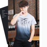 T-shirt court Plonger-Teint de coton de chemise de collet de l'impression V des hommes