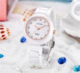 De quartzo ocasional luxuoso da forma do tipo de Longbo relógios cerâmicos