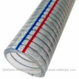 Boyau non-toxique transparent d'acier de PVC de prix bas