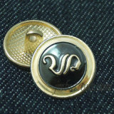 Fancy Gold Embossed Logo Shank Sew Alloy Button