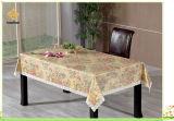 Tablecloth gravado ouro do vinil com revestimento protetor da flanela (TJG0056)