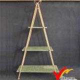 三角形型の木製のボードの金属の植木鉢ラック
