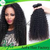 Extensão não processada preta natural do cabelo humano do Virgin de 100%