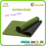 Двойная цветастая циновка тренировки йоги TPE слоя, обслуживание OEM