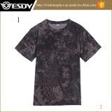 Camicia rotonda del collo dell'Rapido-Essiccamento respirabile caldo di Camo degli uomini